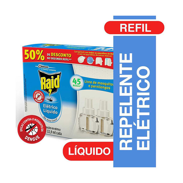 Repelente Raid Elétrico Refil 45 Noites 50% de Desconto na Segunda und