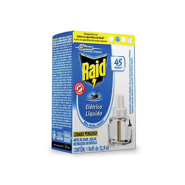 Repelente Raid Elétrico Liquido Refil 45 Noites 32,9ml