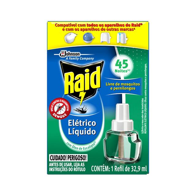 Repelente Raid Elétrico Liquido Eucalipto Refil 45 Noites 32,9ml