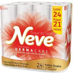 Papel Higiênico Neve Neutro Toque de Seda Folha Dupla 30m Leve 24 Pague 21