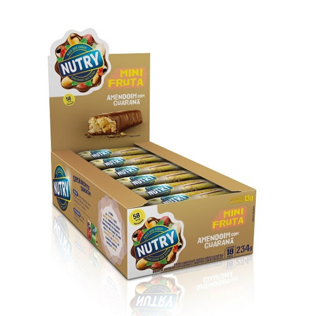 Barra de Fruta Mini Nutry Amendoim com Guaraná 13g - Display com 18 und