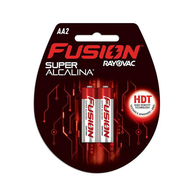 Pilha Super Alcalina Fusion Rayovac Tamanho AA Cartela com 2 und
