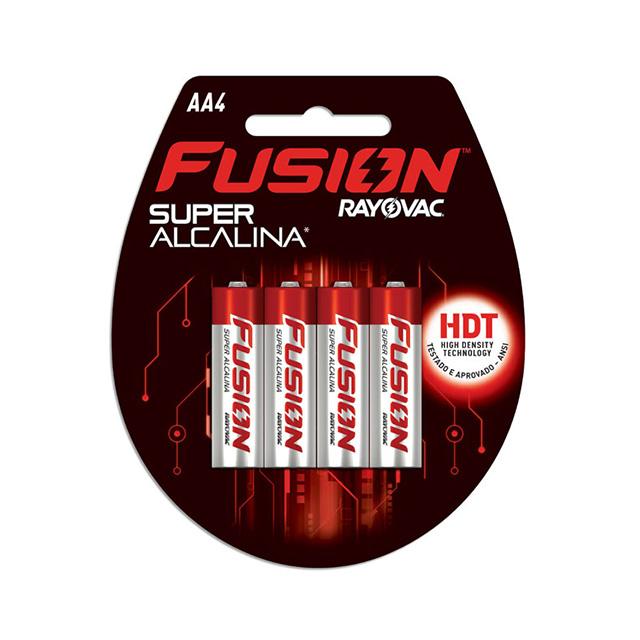 Pilha Super Alcalina Fusion Rayovac Tamanho AA Cartela com 4 und