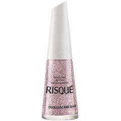 Esmalte Risqué Efeito Fosco Glitter Granulado Rose Blister 8ml