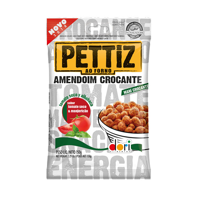 Amendoim Salgado Pettiz Tomate Seco e Manjericão Crocante 150g