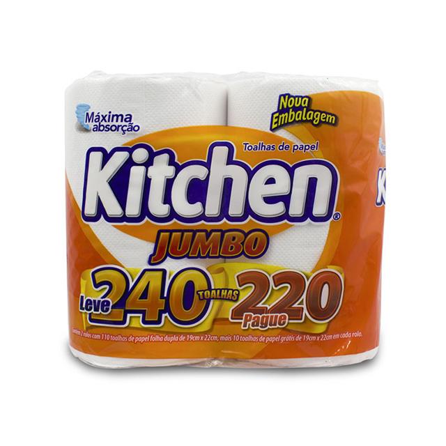 Toalha de Papel Kitchen Folha Dupla Leve 240 Pague 220 2 Rolos com 110 Folhas cada