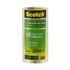 Fita Adesiva Transparente Scotch 3M 45mmx30m com 4 unidades
