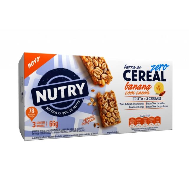 Barra de Cereal Nutry Zero Banana com Canela 22g com 3 und