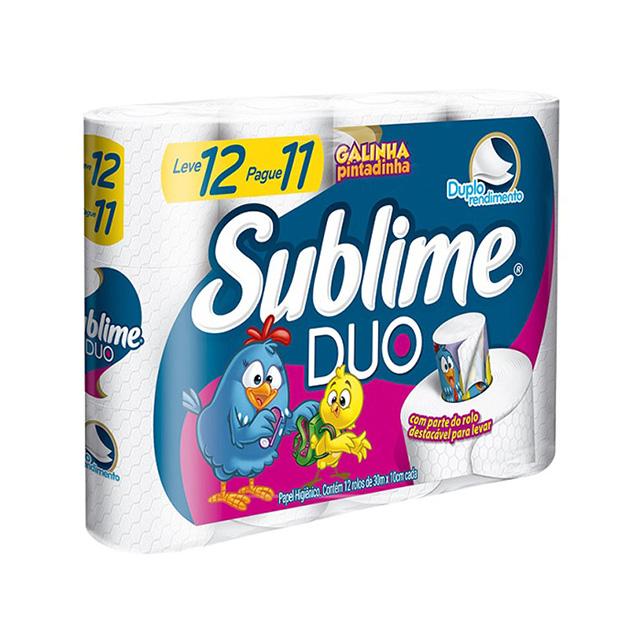 Papel Higiênico Sublime Duo Folha Dupla 30m Leve 12 Pague 11