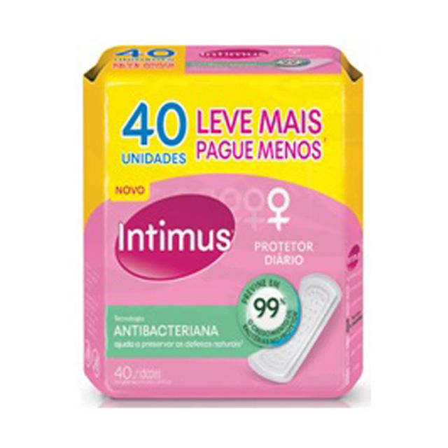 Protetor Diário Intimus Anti Bacteriano Sem Abas Sem Perfume com 40 und