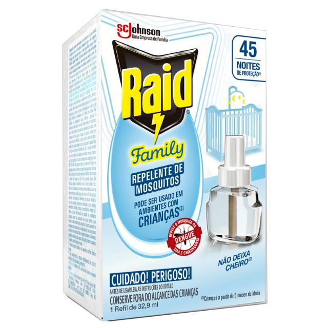 Repelente Raid Elétrico Family 45 Noites Refil 32,9ml