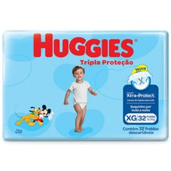 Fralda Huggies  Tripla Proteção Mega Tamanho XG com 32Tiras