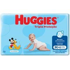 Fralda Huggies Tripla Proteção Meguinha M com 42 tiras