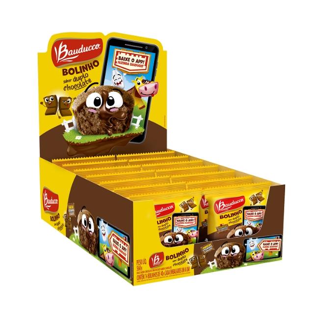Bolinho Bauducco Duplo Chocolate 40g Display com 14 unidades