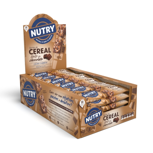 Barra de Cereal Nutry Bolo de Chocolate 22g - Display com 24 und