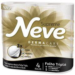 Papel Higiênico Neve Neutro Supreme Folha  Tripla 20m com 4 und