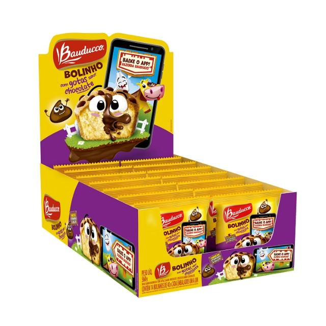 Bolinho Bauducco Gotas Chocolate 40g Display com 14 unidades