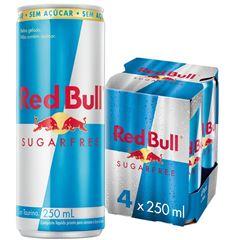 Energético Red Bull Sugar Free Pack com 4 Latas de 250ml