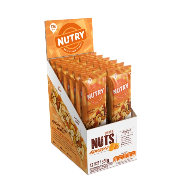 Barra Nuts Nutry Damasco 30g - Display com 12 und